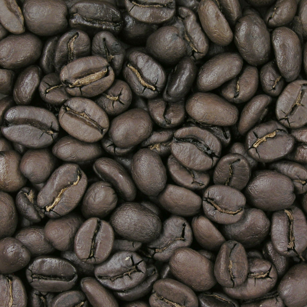 Coffee beans at Full City roast level