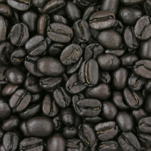 Coffee beans at French roast level
