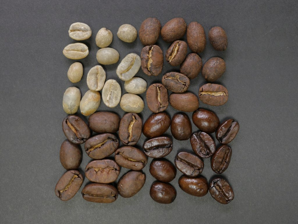 The different roast levels of coffee beans